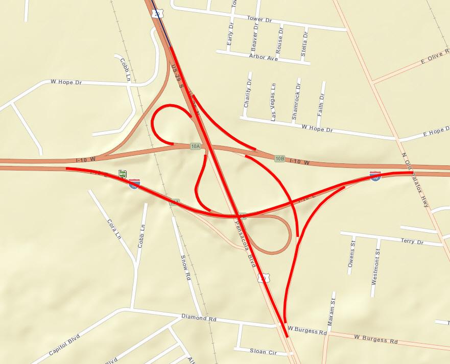 Fdot Sr 8 I 10 At Sr 95 Us 29 Phase I Improvements 222476 2 - Us-interstate-10-map