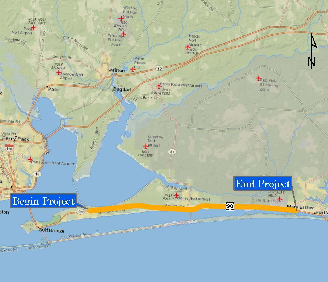 FDOT  US  PDE Study From Santa Rosa County To SR - Us 90 florida map